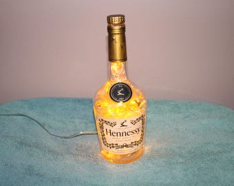 Hennessy Cognac Bottle with 100 LED Man Cave/Bar/Deco Light with 8 light patterns-Yellow Lights