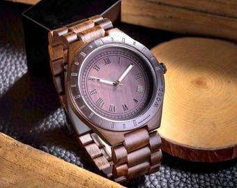 Wood watch,Mens watch,wooden wristwatch, link bracelet, quartz watch, men's watch in dark brown sandalwood
