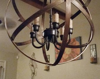 Rustic Lighting, Orb Chandelier, Farmhouse Decor, Industrial Chandelier  Light, Foyer Light,