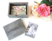 "For Darcy : Custom 6x10"" Driftwood Grey Photo Box with ""photographs"" engraving"