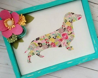 Dachshund, wiener dog, colorful boho hippie dog, doxie, shabby chic, teal wood sign, spring, mixed media sign