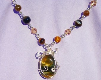 Golden Tiger Eye Gemstone Wire Wrap Necklace