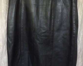 1980s Black Leather Skirt