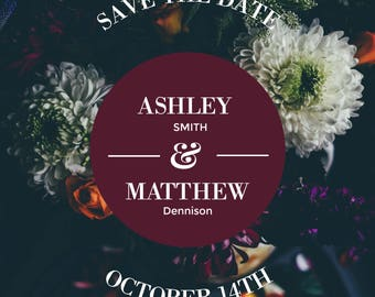 Floral Burgundy Wine Save The Date
