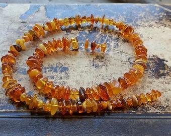 Genuine Baltic Amber beads strand, real Baltic amber beads, natural yellow brown amber