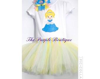 Embroidered Princess T-Shirt Tutu Hairbow set. Shirt sizes 2t - 5 onesies 3M - 18M