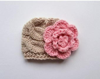 ON SALE 10% SALE Knit Baby Girl  Hat , Baby Hat Photo Prop , Knit Baby Hat , Crochet Flower Hat ,Photo Prop