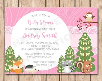 Woodlands Baby Shower Invitation   Animals, Fox, Raccoon, Squirrel, Owl, Girl - 1.00 each printed or 12.00 DIY file