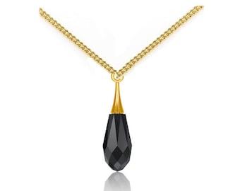 9 carat Gold Necklace with Black Swarovski Teardrop Pendant