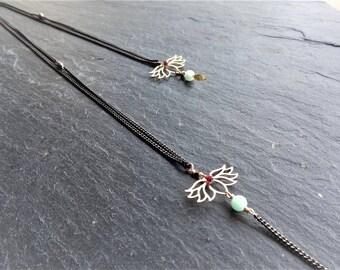 Back/wedding lotus, brass, stone necklace jewelry
