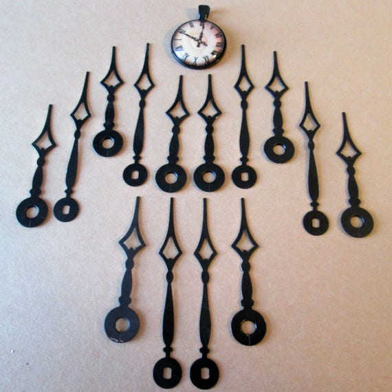 "7 Pairs of Vintage Black Steel Fancy Diamond Design Clock Hands 2 7/8"" and 2 3/8"" for your Clock Projects, Jewelry Making, Steampunk Art"
