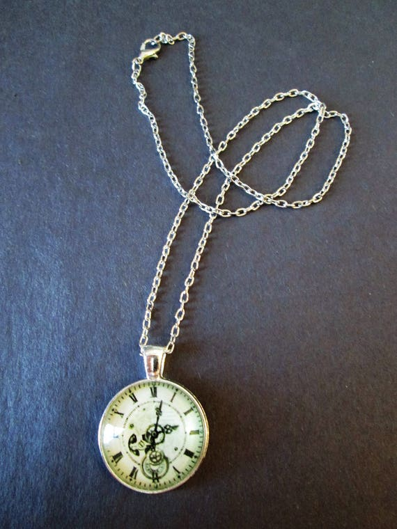 """1 New Antiqued Look Fancy Domed Glass Clock Theme Necklace 1"""" Wide with an 18"""" Silver Plated Chain"""