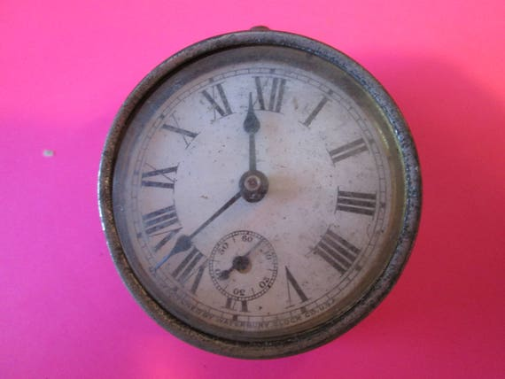 "Old Small 2"" Waterbury Clock for Repair, Parts, Steampunk Art and etc..."