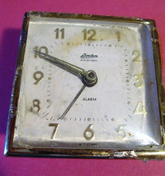"""Old and Worn Vintage Small 2 1/4 x 2 1/4"""" Partial Linden German Alarm Clock for Parts - Repairs - Steampunk Art"""