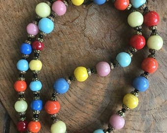 Art Deco Harlequin 1930s beaded glass necklace 22inches in length