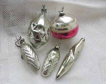 Set of 5 Vintage Soviet Christmas tree decoration, Silver Mercury Glass Ornament, Christmas decor, Retro Tree decoration, M