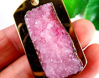 Titanium /Pink /Agate/ Druzy/ Geode/ Slice/ Thick /Gemstone/ Gold /Dog Tag /Pendant
