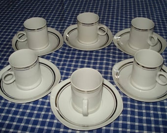 Beautiful Set of 6 Vintage Old Fine Bone Porcelain Coffee Cups with Plates