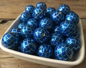 20mm Royal Blue and Silver Quatrefoil Checked Chunky Bead, Clover Bubblegum Bead, Acrylic Bead, DIY Chunky Necklace, 10 Count