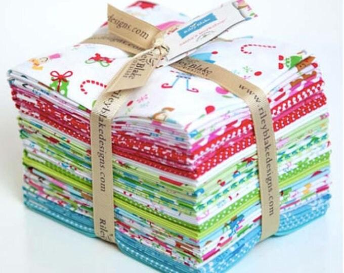 Riley Blake Santa's Workshop 14 Fat Quarter Bundle Christmas Cotton Fabric