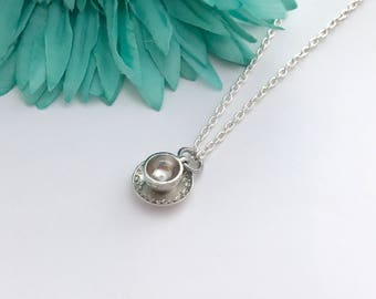 Coffee cup  necklace -  cup with chain necklace - fun necklace - silver necklace with lobster clasp - great gift - comes wrapped