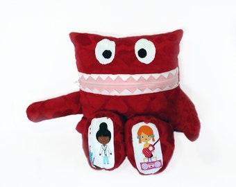 Girls Monster Pajama Eater/ Monster Pajama Holder/ Pajama Bag Stuffie/ Stuffed Monster Pillow/ Travel Buddy/ Secret Keeper/ Red Heart Minky