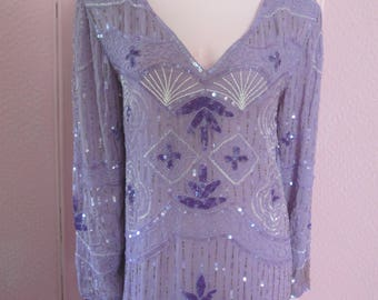 "1980s Lavender Silk Chiffon Chemise with Glass Beading by ""Chanson D'Amour,"" Size M - L"