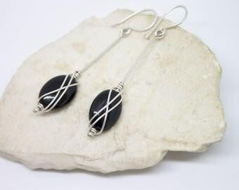 Onyx black elegant sterling silver earrings