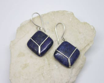 Lapis lazuli sterling silver blue earrings