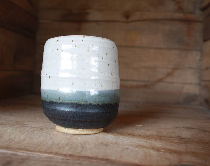 Tumbler - Coffee Cup - Handmade - White & Black - Ceramics and Pottery - KJ Pottery