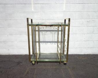 Bar Cart Tea Mid Century Brass Gold Vintage Boho Chic Milo Baughman Serving Server Storage Retro Table Portable Liquor Wine Spirits Regency