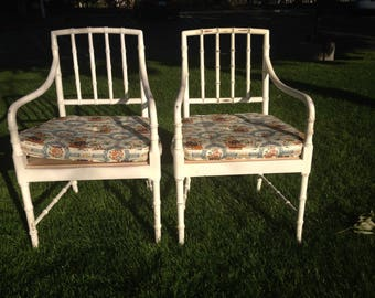 Pair of Chairs Set Dining Bamboo Boho Chinese Chippendale Lounge Chic Regency Rattan Armchairs Seating Coastal Chinoiserie Rattan Seating