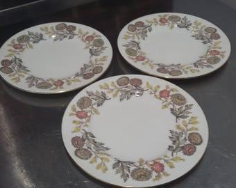 3 Wedgwood 'Lichfield' Vintage Autumn Plants Tea Side Cake Plate Plates 207 mm