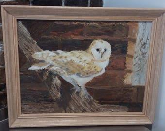 Vintage Original Oil Painting Picture Framed of Owl