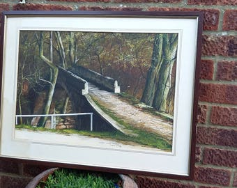 Vintage Original Watercolour Beggars Bridge Glaisdale 1983