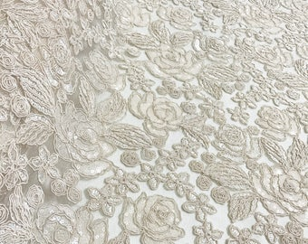 Valentina Lace Fabric in Ivory - Elegant Bridal Lace Fabric With Sequins Embroidery Throughout - Perfect For Weddings