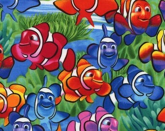 Clownfish Sea Life Multi Fish Cotton Timeless Treasures Fabric #6952 By the Yard