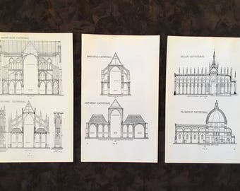 1928 Architectural Illustration Vintage Book Page Blueprints Historic Structure Building Black And White Design Cathedral Print