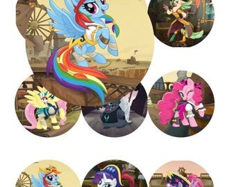 MLP Pirate Ponies 2 1/2 inch Printable Bottle Cap Cabochon Digital Collage INSTANT DOWNLOAD