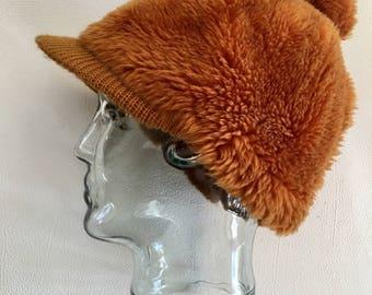 60's Vintage MOD mustard brown faux fur hat cap
