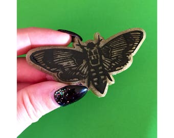 Death's Head Moth Brooch - bakelite condetti  lucite dead pin up horror goth retro halloween silence of the lambs
