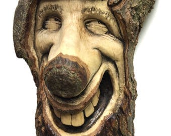Wood Spirit, Wood Carving, Happy, Smile, Hand Carved Wood Art, Home Decor, Unique Sculpture by Josh Carte, OOAK, Handmade Woodworking, Ohio