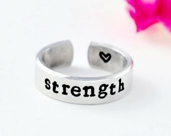 strength - Hand Stamped Aluminum Cuff Ring, Word of the Year, Inspirational Gift Ring