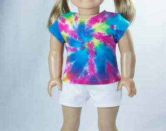 Tie Dye Pink Blue TEE Shirt and White Knit SHORTS and SANDALS Option for American Girl or 18 Inch Doll