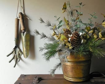 Copper Bucket Christmas Table Centerpiece & Vintage Painted Garden Tools To Hang- Modern Farmhouse Holiday Decor /0612