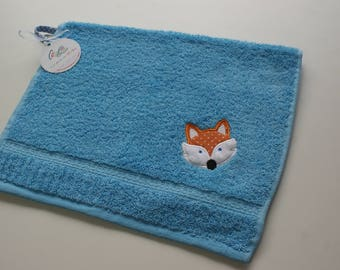Personalized towel for kid, Towel with Fox applique and name, Small hand towel