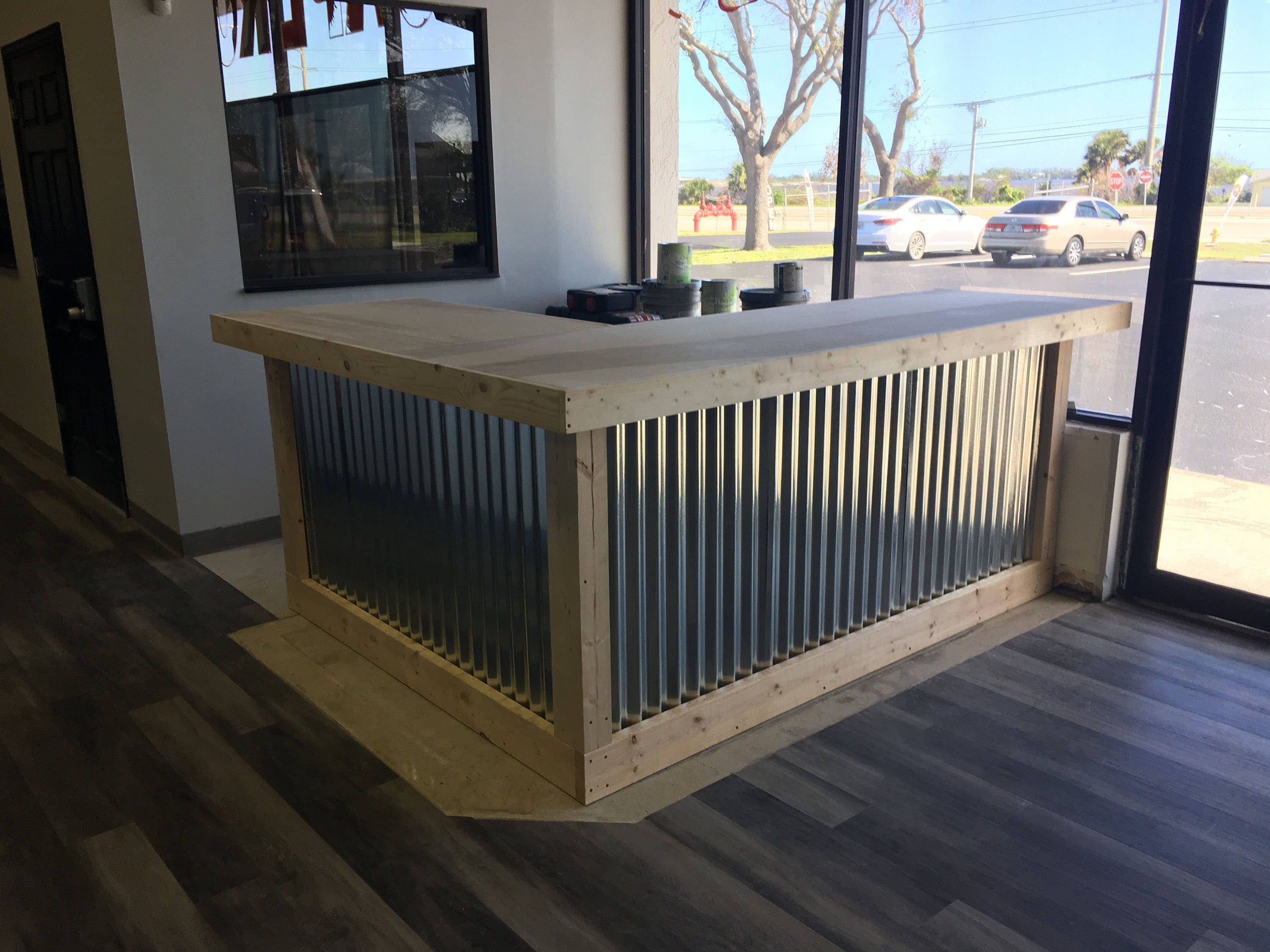 The L Shaped Counter 8 X 6 Foot Corrugated Metal Bar