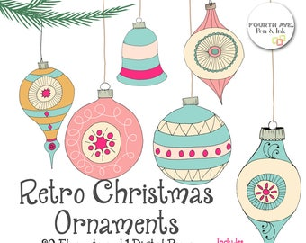Retro Christmas Ornaments Clipart, Quirky Christmas Clipart, Christmas Balls Clipart, Hand Drawn Christmas Clipart, Christmas Clipart