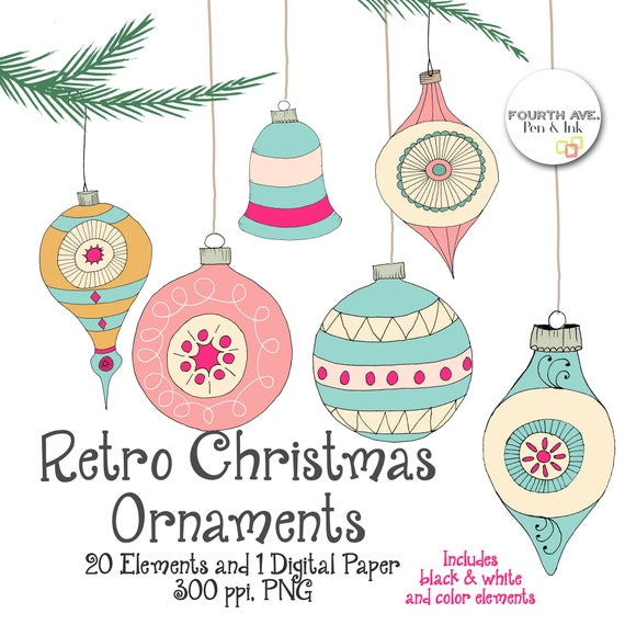 Retro Christmas Ornaments Clipart Quirky Christmas Clipart
