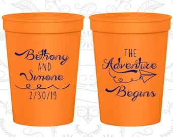 Orange Stadium Cups, Orange Cups, Orange Party Cups, Orange Wedding Cups (294)